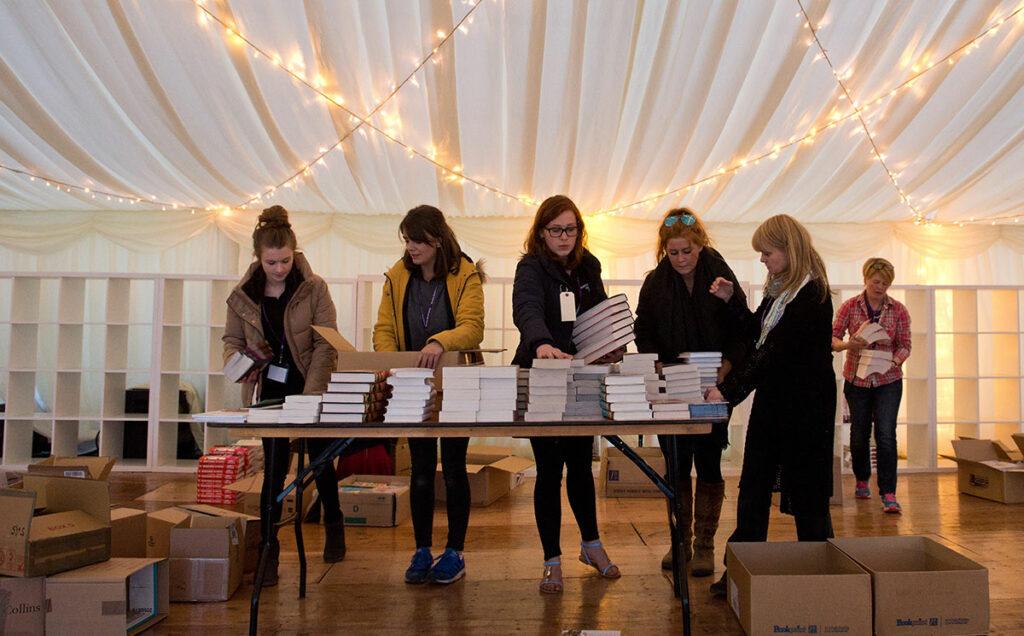 Borders Book Festival 2015 Setting Up Bookshop